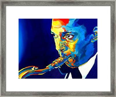 Coltrane-blu Framed Print by Vel Verrept
