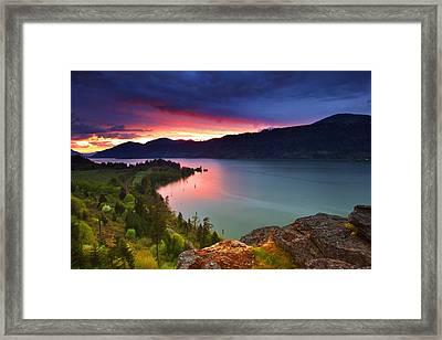 Columbia Sunset Framed Print by Darren  White