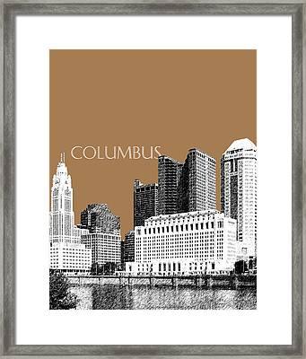 Columbus Skyline - Brown Framed Print by DB Artist