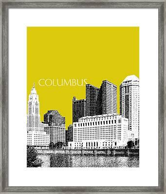Columbus Skyline - Mustard Framed Print by DB Artist