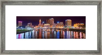 Columbus Skyline At Night Color Panorama Ohio Framed Print by Jon Holiday