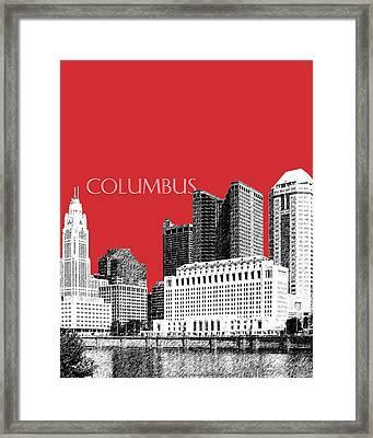 Columbus Skyline - Red Framed Print by DB Artist