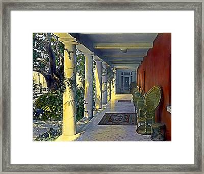 Columns And Chairs Framed Print by Terry Reynoldson