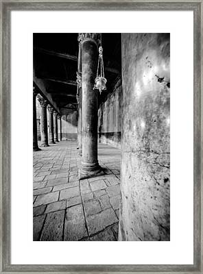 Columns At The Church Of Nativity Black And White Vertical Framed Print by David Morefield