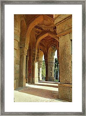 Columns On Tomb Of Mohammed Shah / Framed Print by Adam Jones