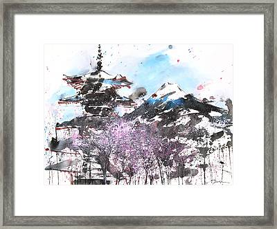 Combination No.32 Spring Time Mt.fuji And Pagoda Framed Print by Sumiyo Toribe