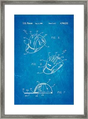 Combined Baseball Glove Cap Patent Art 1988 Blueprint Framed Print by Ian Monk
