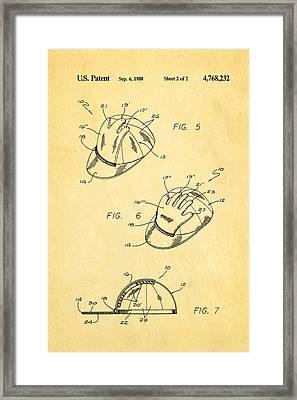 Combined Baseball Glove Cap Patent Art 1988 Framed Print by Ian Monk