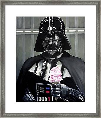 Come To The Dark Side... We Have Ice Cream. Framed Print by Tom Carlton