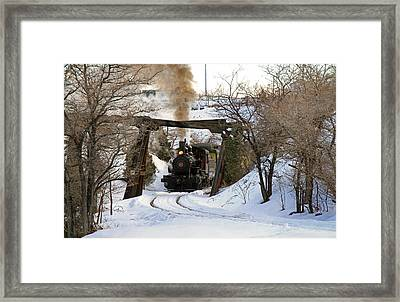Coming Into The Train Depot Framed Print by Donna Kennedy