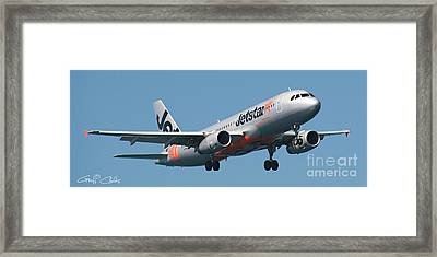 Commercial Aircraft At Sydney Airport Framed Print by Geoff Childs