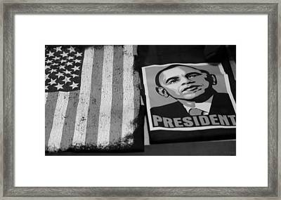 Commercialization Of The President Of The United States In Balck And White Framed Print by Rob Hans