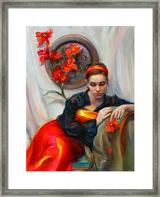 Common Threads - Divine Feminine In Silk Red Dress Framed Print by Talya Johnson