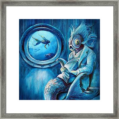 Commuter Fish Square Framed Print by Vanessa Bates