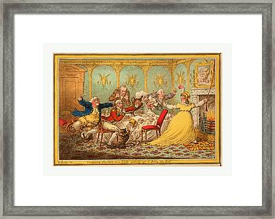 Company Shocked At A Lady Getting Up To Ring The Bell Framed Print by English School
