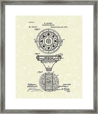 Compass 1892 Patent Art Framed Print by Prior Art Design