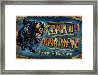 Complaint Department Framed Print by JQ Licensing