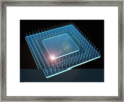 Computer Processor, Artwork Framed Print by Science Photo Library