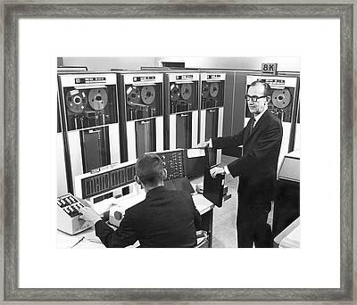 Computers Used At Gmc Framed Print by Underwood Archives