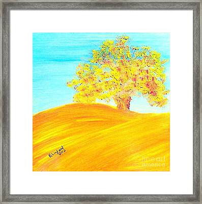 Concord California Oak 2 And Poem Concord In The Son Framed Print by Richard W Linford