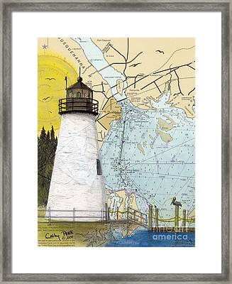 Concord Pt Lighthouse Md Nautical Chart Map Art Cathy Peek Framed Print by Cathy Peek