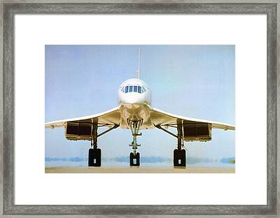 Concorde On Airport Runway Framed Print by Us National Archives