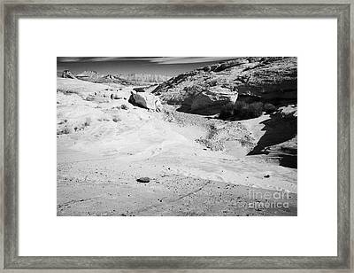 Concrete Reinforcement Of Flood Water Run Off From Road Through The Valley Of Fire State Park Nevada Framed Print by Joe Fox