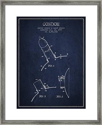 Condom Patent From 1989 - Navy Blue Framed Print by Aged Pixel