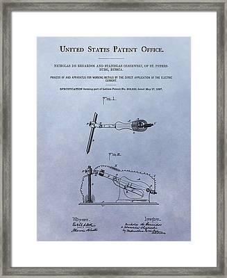 Conductive Metal Electric Current Patent Framed Print by Dan Sproul