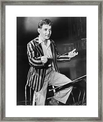 Conductor Leonard Bernstein Framed Print by Fred Palumbo