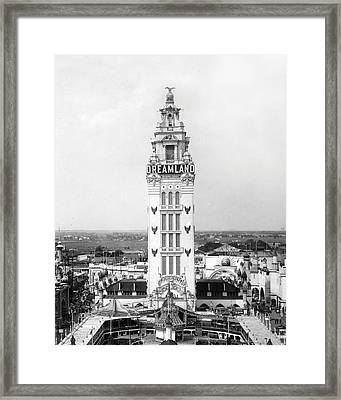 Coney Island - Dreamland Park Tower Framed Print by MMG Archives