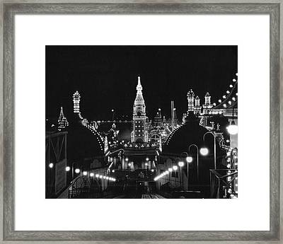 Coney Island - Nighttime Roller Coaster Framed Print by MMG Archives
