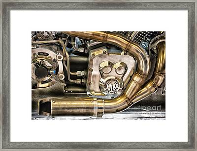 Confederate Motorcycle B120 Wraith Engine And Exhaust Pipe Framed Print by Ian Monk