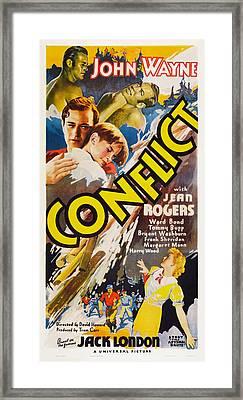 Conflict, Top Left John Wayne, Center Framed Print by Everett