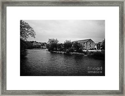 Confluence Of The Rivers Cocker And Derwent On A Rainy Overcast Day Cockermouth Cumbria England Framed Print by Joe Fox