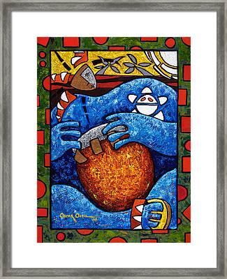 Conga On Fire Framed Print by Oscar Ortiz