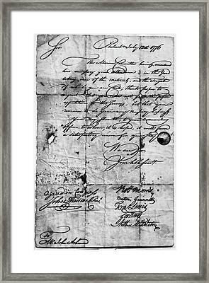 Congressional Document, 1776 Framed Print by Granger