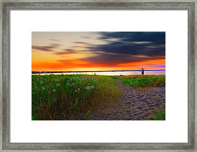 Conimicut Point Beach Rhode Island Framed Print by Lourry Legarde