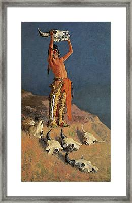 Conjuring Back The Buffalo Framed Print by Frederic Remington