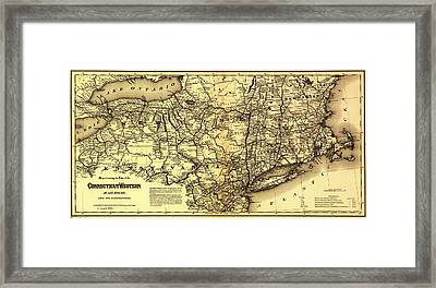 Connecticut And Western Railroad Map 1871 Framed Print by Mountain Dreams