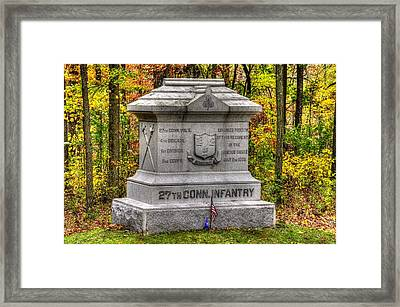 Connecticut At Gettysburg - 27th Connecticut Volunteer Infantry Rose Woods - Second Day Of Battle Framed Print by Michael Mazaika
