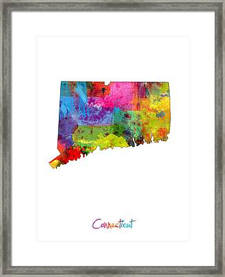 Connecticut Map Framed Print by Michael Tompsett
