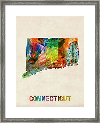 Connecticut Watercolor Map Framed Print by Michael Tompsett