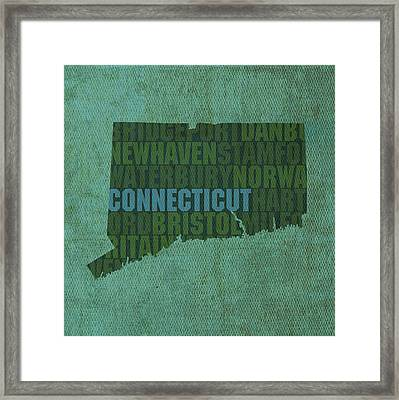 Connecticut Word Art State Map On Canvas Framed Print by Design Turnpike