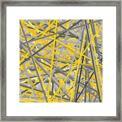 Connection - Yellow And Gray Wall Art Framed Print by Lourry Legarde