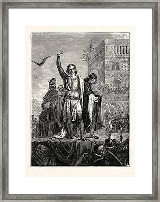 Conradin On The Scaffold Flings Down The Gauntlet Framed Print by English School
