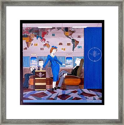 Constellation Businessman Served Martini By Sexy Stewardess Framed Print by John Lyes