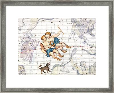 Constellation Of Gemini With Canis Minor Framed Print by Sir James Thornhill