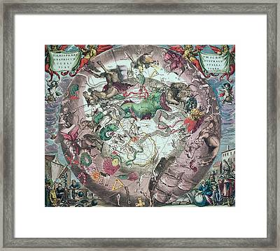 Constellations Of The Southern Hemisphere, From The Celestial Atlas, Or The Harmony Of The Universe Framed Print by Andreas Cellarius
