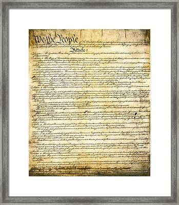 Constitution Of The United States Framed Print by Daniel Hagerman